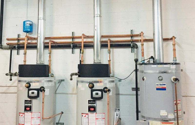 Three commercial water heaters